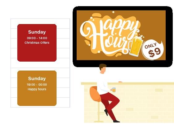 promote restaurant offer on tv screen